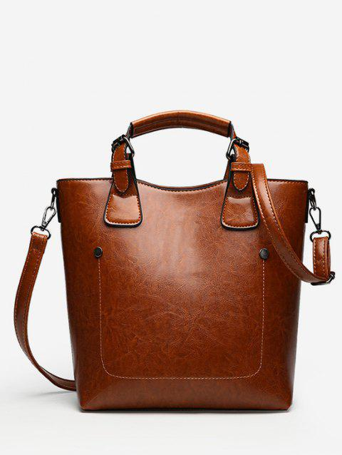 Solid Color Minimalist Handbag with Strap - BROWN