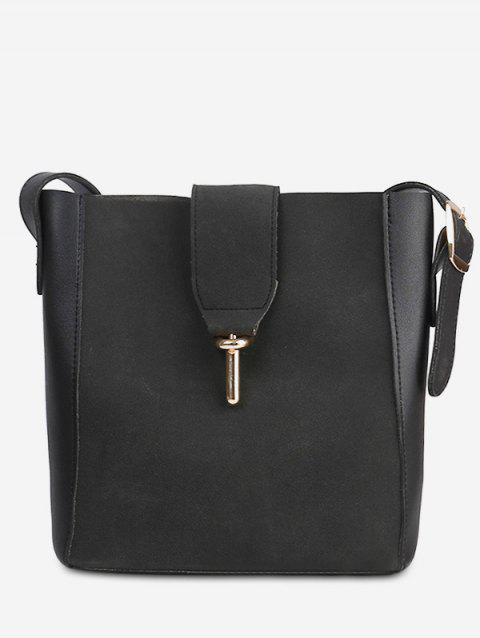 Panel 2 Pieces Crossbody Bag Set - BLACK