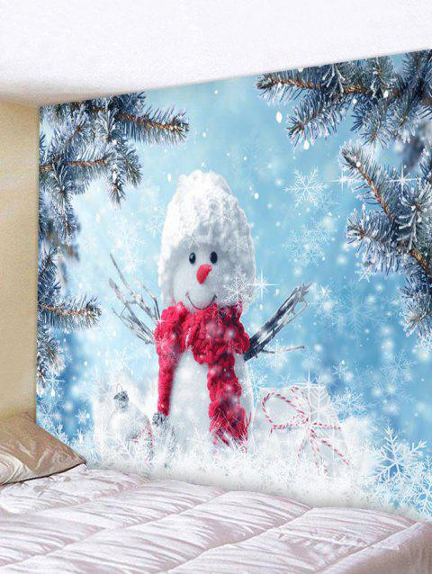 Snowflakes and Snowman Pattern Home Decor Tapestry - BABY BLUE W91 X L71 INCH