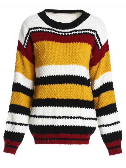 Crew Neck Striped Chunky Sweater - multicolor ONE SIZE