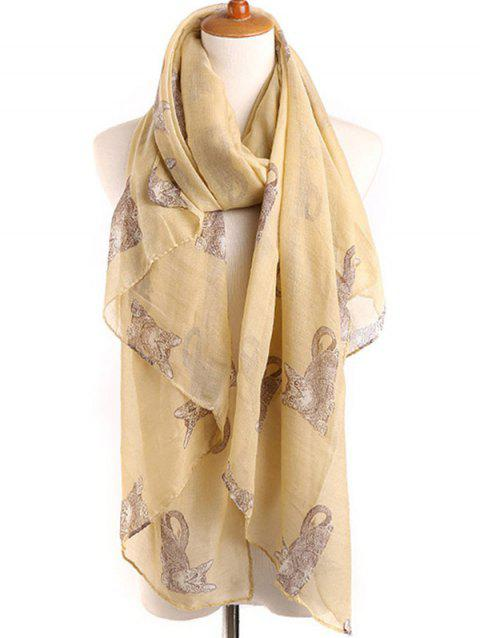 Naughty Cat Printed Long Scarf - GOLDENROD