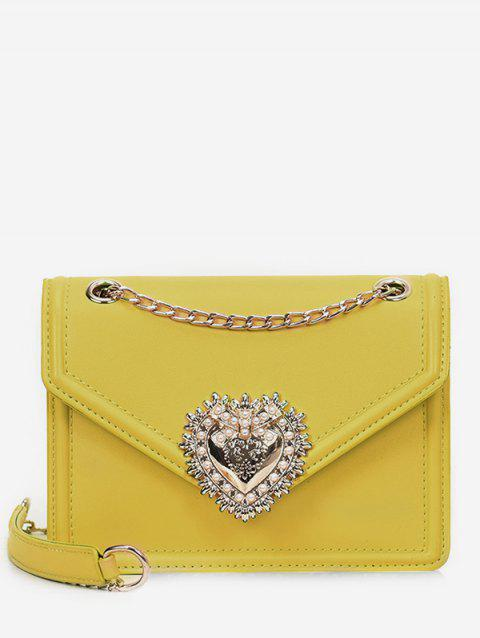 Faux Pearl PU Leather Crossbody Bag - YELLOW