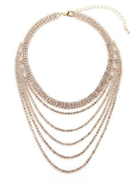 Collier Superposé avec Strass - Or
