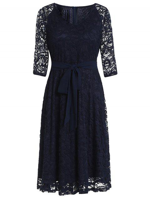 Retro Lace Belted Pin Up Dress - CADETBLUE XL