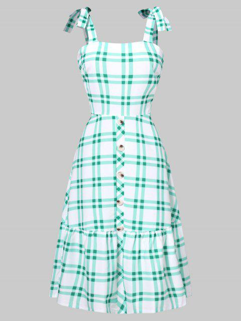 Tie Shoulder Tartan Flounced Flare Dress - LIGHT AQUAMARINE L