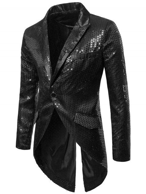 Single Button Allover Paillette Embellished Swallow-tailed Blazer - BLACK 2XL