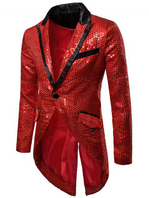 Single Button Allover Paillette Embellished Swallow-tailed Blazer - RED 2XL