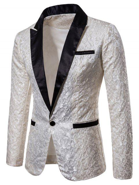 Jacquard Weave Contrast Color Blazer - WHITE XL