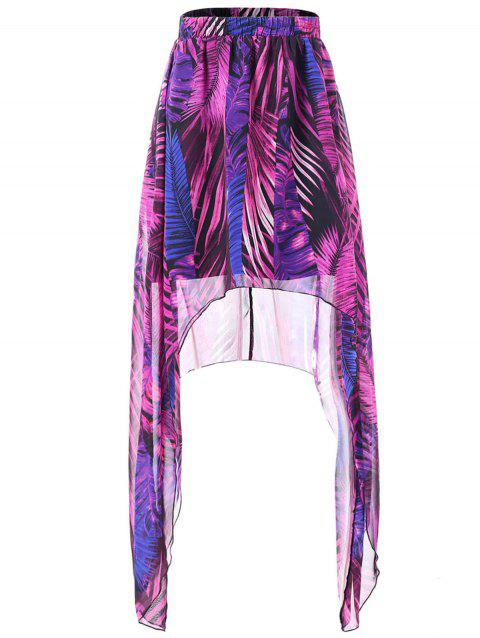 African Print Maxi Asymmetrical Skirt - multicolor L