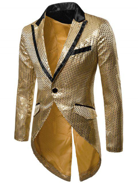 Single Button Allover Paillette Embellished Swallow-tailed Blazer - GOLD XL