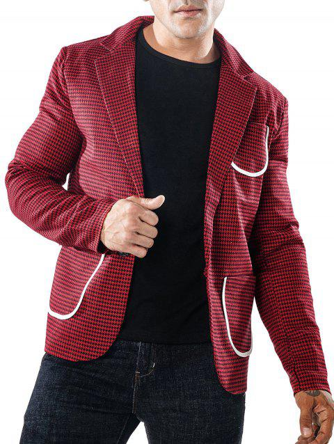 Slim Fit Bordure Pocket Houndstooth Blazer - RED M