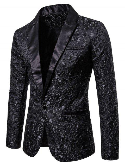 Jacquard Weave Contrast Color Blazer - BLACK 2XL