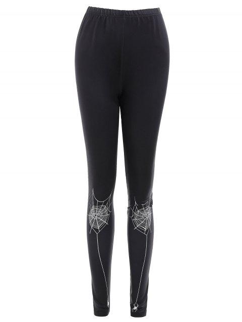 Spider Web Print Fitted Leggings - BLACK XL