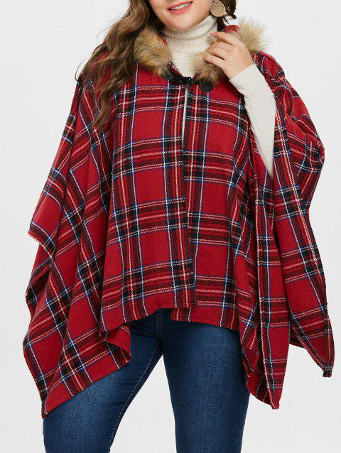 Hooded Plus Size Tartan Cape Coat - RED 4X