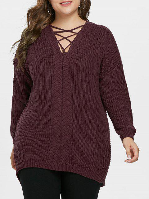 Criss Cross Plus Size High Low Sweater - RED WINE 1X