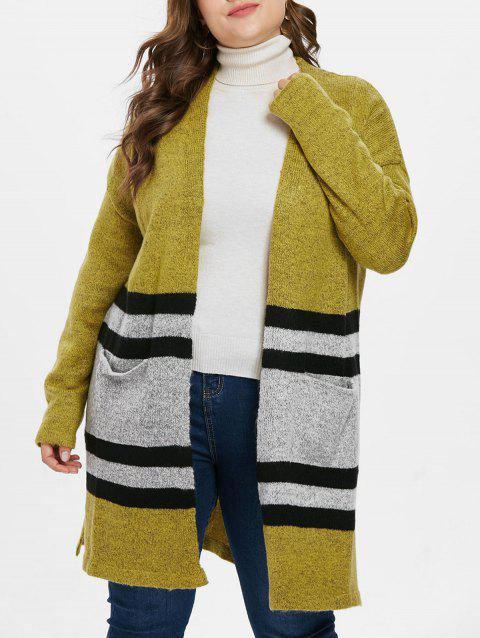 Plus Size Striped Panel Long Cardigan - GREEN YELLOW L