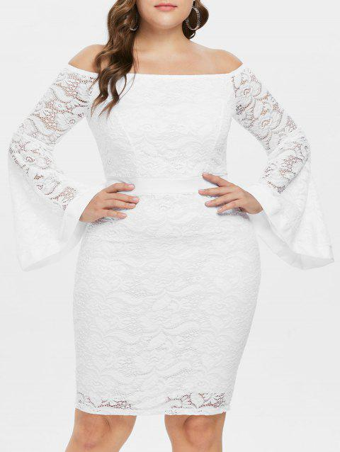 Flare Sleeve Plus Size Lace Bodycon Dress - WHITE L