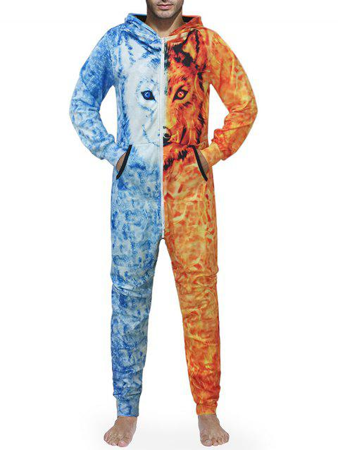Zip Up Hooded Wolf Print Jumpsuit - multicolor 2XL