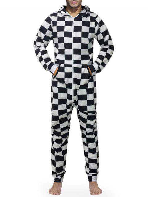 Checked Print Zip Up Hooded Jumpsuit - multicolor L