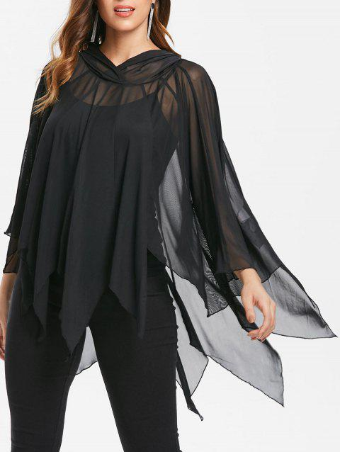 Halloween Handkerchief Mesh Cape With Tank Top - BLACK L