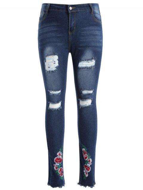 Floral Embroidery Plus Size Torn Jeans - MIDNIGHT BLUE 2X