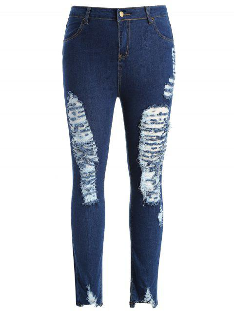 Plus Size Fitted Distressed Jeans - DENIM BLUE 2X