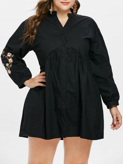 Plus Size V Neck Embroidery Shirt Dress - BLACK 5X