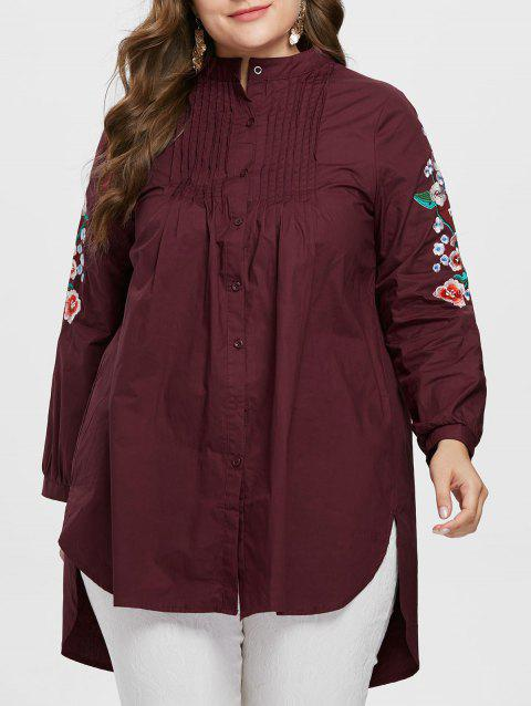Floral Embroidery Plus Size Pleated Shirt - RED WINE 3X