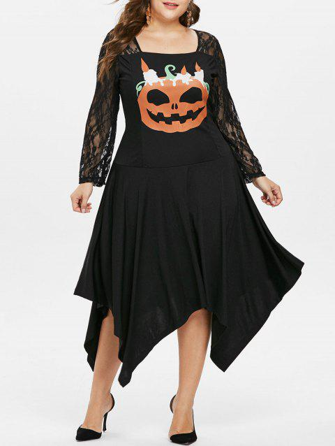 Plus Size Lace Panel Pumpkin Asymmetric Dress - BLACK 3X