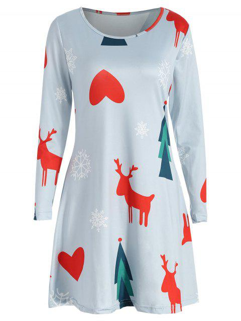 Christmas Print Tee Dress - LIGHT GRAY L