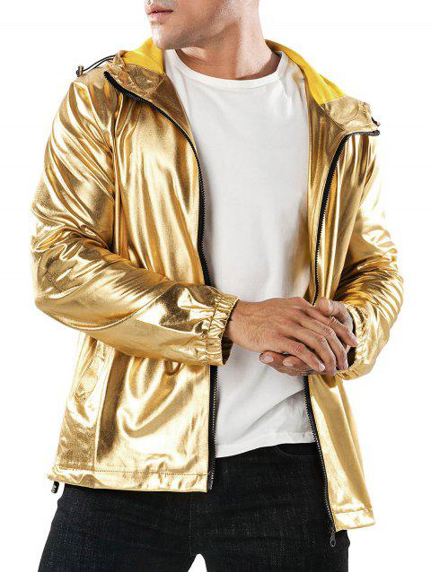 Lustrous Zipper Placket Casual Hoodie - GOLD L