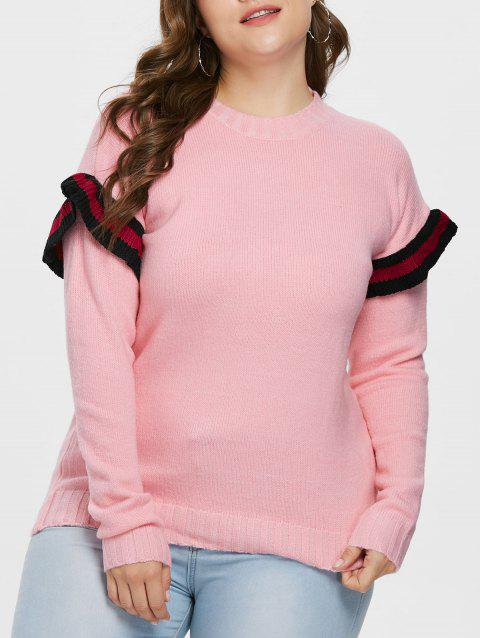 Plus Size Ruffle Detail Sweater - PINK L