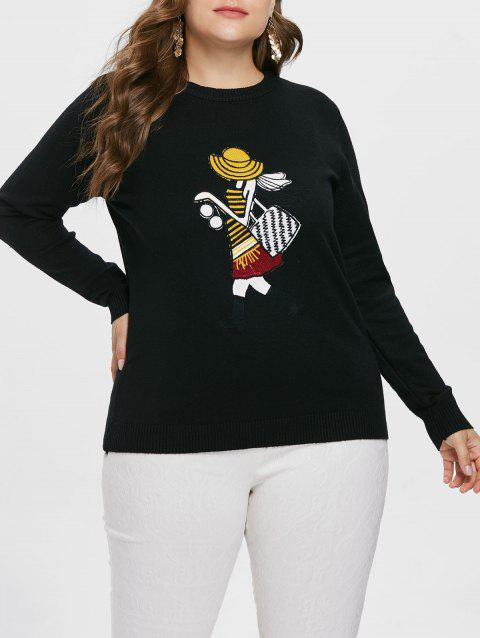 Plus Size Fitted Graphic Sweater - BLACK L