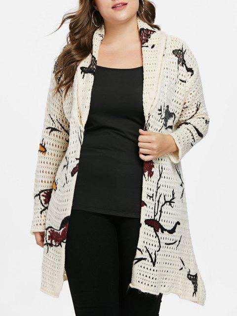 Plus Size Print Sweater Cardigan - BEIGE ONE SIZE