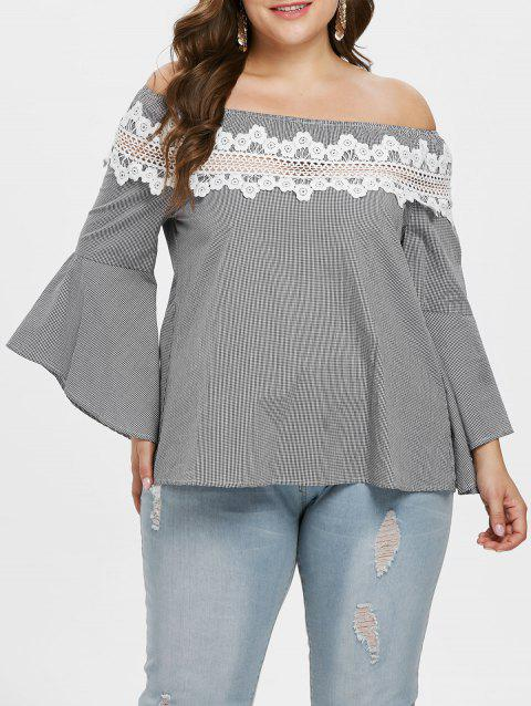 Plus Size Off Shoulder Checked Bell Sleeve Blouse - multicolor L