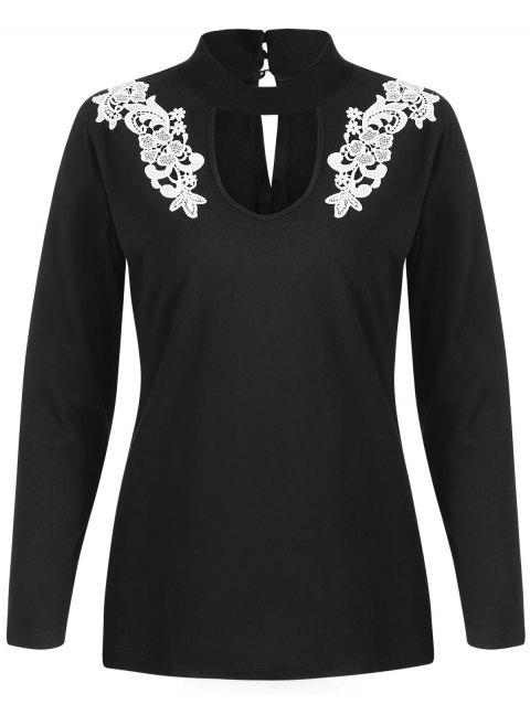 Floral Applique Keyhole Neck T-shirt - BLACK L
