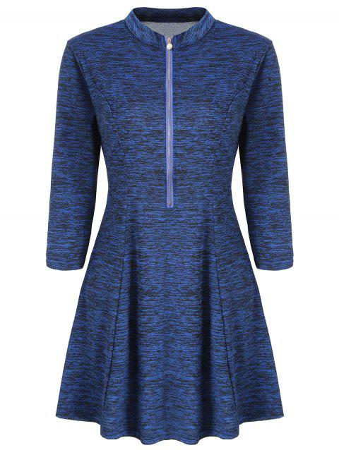 Half Zipper A Line Dress - DEEP BLUE M
