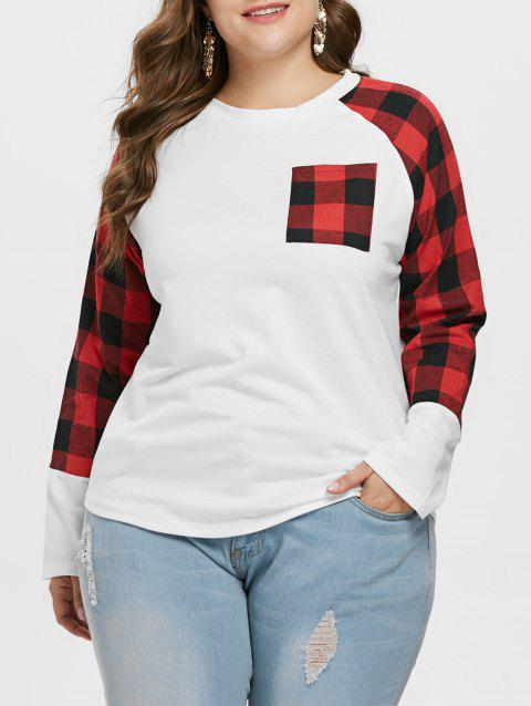 Plus Size Long Sleeve Plaid Pocket T-shirt - WHITE 1X
