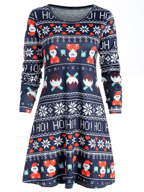 Father Christmas Print Swing Dress - multicolor XL
