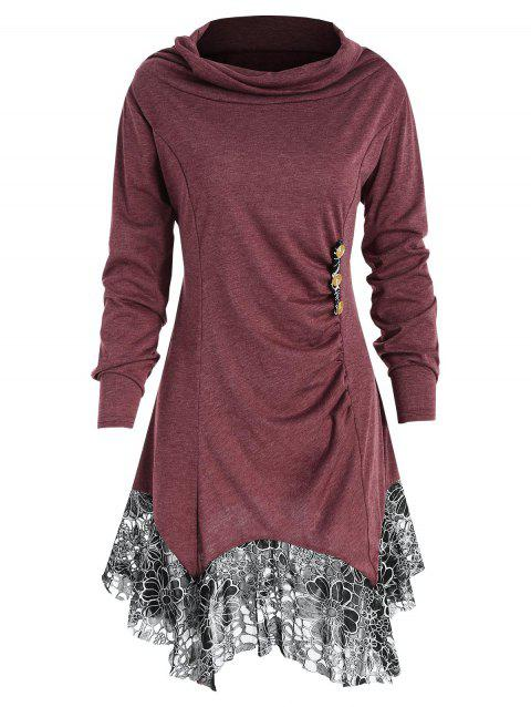 Long Sleeve Lace Trim Tunic T-shirt - RED WINE 2XL