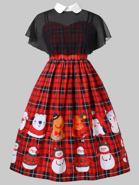 Plus Size Christmas Vintage Plaid Pin Up Dress With Cape - RED 4X