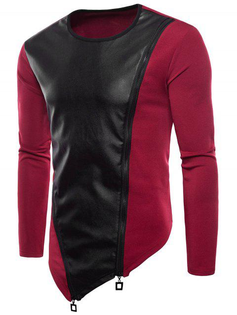 PU Zip Patch Asymmetric Hem Long Sleeve T-shirt - RED 2XL