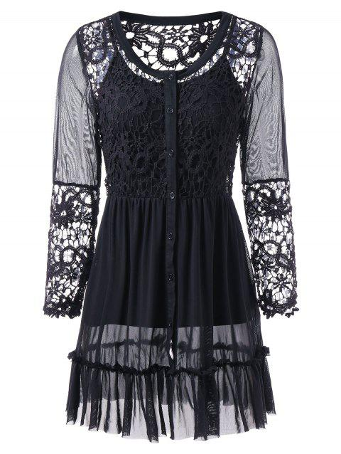 Sheer Lace Mesh Insert Blouse With Tank Top - BLACK M
