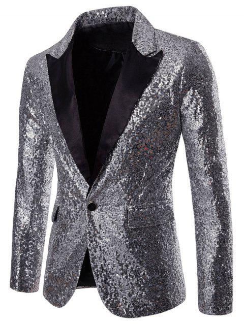 One Button Pockets Shiny Sequin Blazer - SILVER L