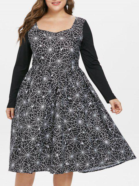 Plus Size Halloween Spider Web Vintage Dress - BLACK 3X