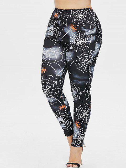 Halloween Plus Size Spider Web Leggings - BLACK 5X