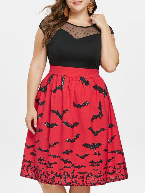 Robe vintage sans manches grande taille Halloween - Rouge 3X