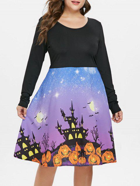 Plus Size Long Sleeve Halloween Dress - BLACK 4X