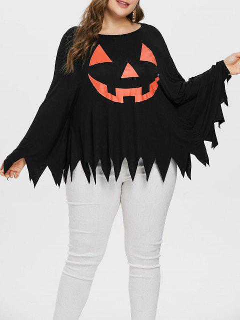 Plus Size Graphic Halloween Poncho T-shirt - BLACK 2X