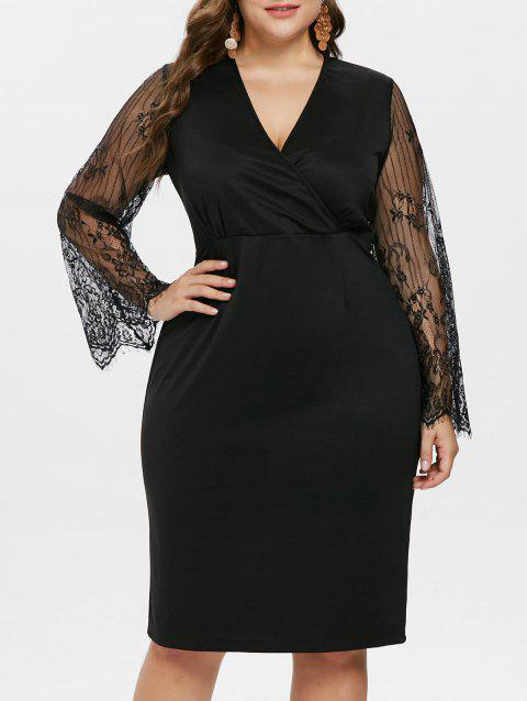 Plus Size Lace Sleeve Low Cut Dress - BLACK 1X